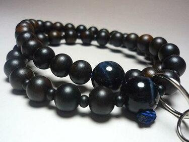 男性用のお数珠縞黒檀浄土宗紺(青)虎目石仕立て