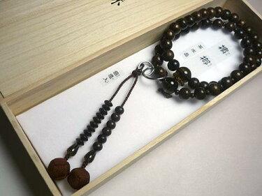 男性用のお数珠ビンロウ樹茶水晶仕立て浄土宗こげ茶房