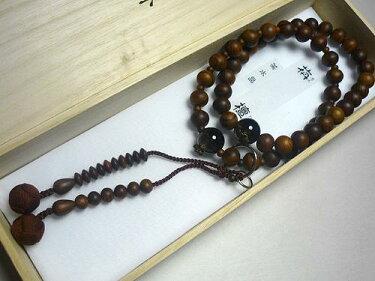 男性用のお数珠栴檀茶水晶仕立て浄土宗こげ茶房