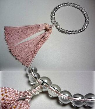 女性用のお数珠水晶7mm明るめ灰桜房共仕立て