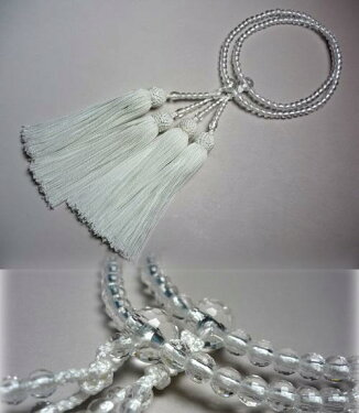 女性用のお数珠水晶108面切子仕立て白房二重