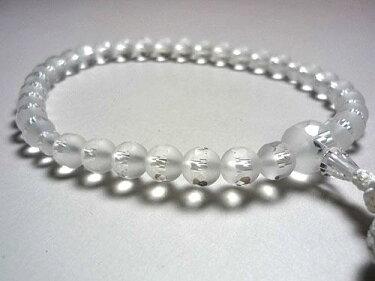女性用のお数珠窓付淡雪(水晶)切子共仕立て白房