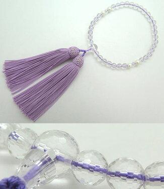 女性用のお数珠水晶108面切子淡水真珠4点仕立て藤房