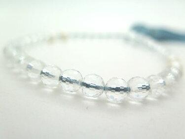 女性用のお数珠水晶108面切子淡水真珠4点仕立て忘草房