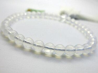 女性用のお数珠ヒマラヤムーンクォーツ8mm玉水晶仕立て白房