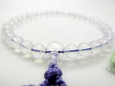 女性用のお数珠ヒマラヤムーンクォーツ8mm玉水晶仕立て藤房