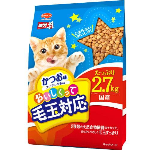 日本ペットフード ミオおいしくって毛玉対応 かつお味 2.7kg