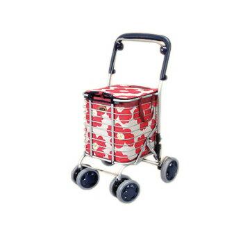送料無料!アルミワイヤーカート / A-0245H 花柄赤 ブレーキ付 /A-0245H 花柄赤 ショッピングカート オシャレ 買い物カート アルミワイヤーカート