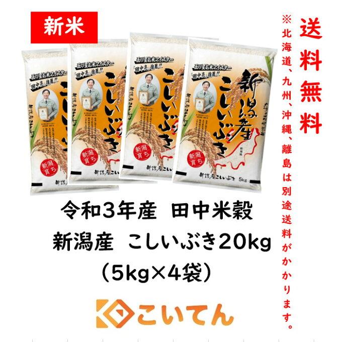 田中米穀 新潟産こしいぶき20kg(5kg×4袋)【送料無料 北海道、九州、沖縄、離...