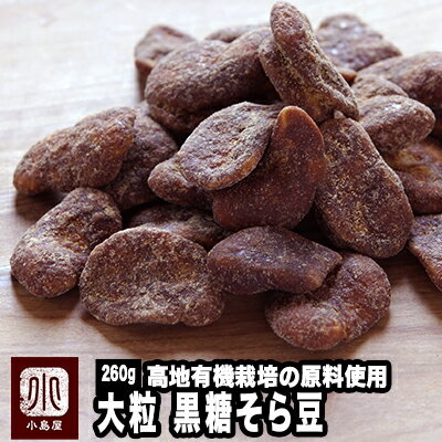 黒糖そら豆《260g》 ナッツ専門店の目利きの品高地有機栽培で育てられた大粒のそら豆を職人さんが10数回釜煎りで味を付けていく、上品な豆菓子です。そら豆黒糖 黒糖空豆 黒糖蚕豆