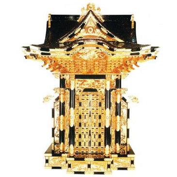 【送料無料】三方妻六本柱宮殿 黒塗 本金箔押 金具打 カシュー塗 4尺(120cm)【製造元より直送/代引不可】