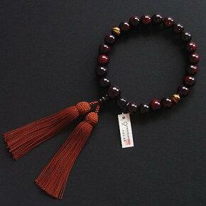 京都の念珠・数珠(じゅず)紫檀(したん)二天虎目22玉正絹頭付房
