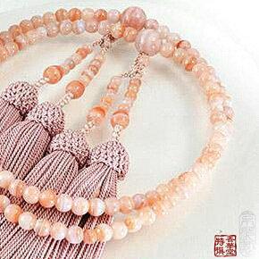 【ゆうパケットなら送料無料!】京都の念珠・数珠(じゅず)紅カルセドニー二輪5ミリ共仕立正絹頭付房