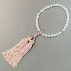数珠女性用【干支の守り本尊入り数珠】白オニキス8ミリローズクオーツ仕立正絹頭付房結び入り桐箱入り