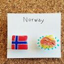 SATOPP'Sノルウェー&サーモンのレモンソース樹脂イヤリング(ノンホールピアス)<サトップス国旗&国民食シリーズ>