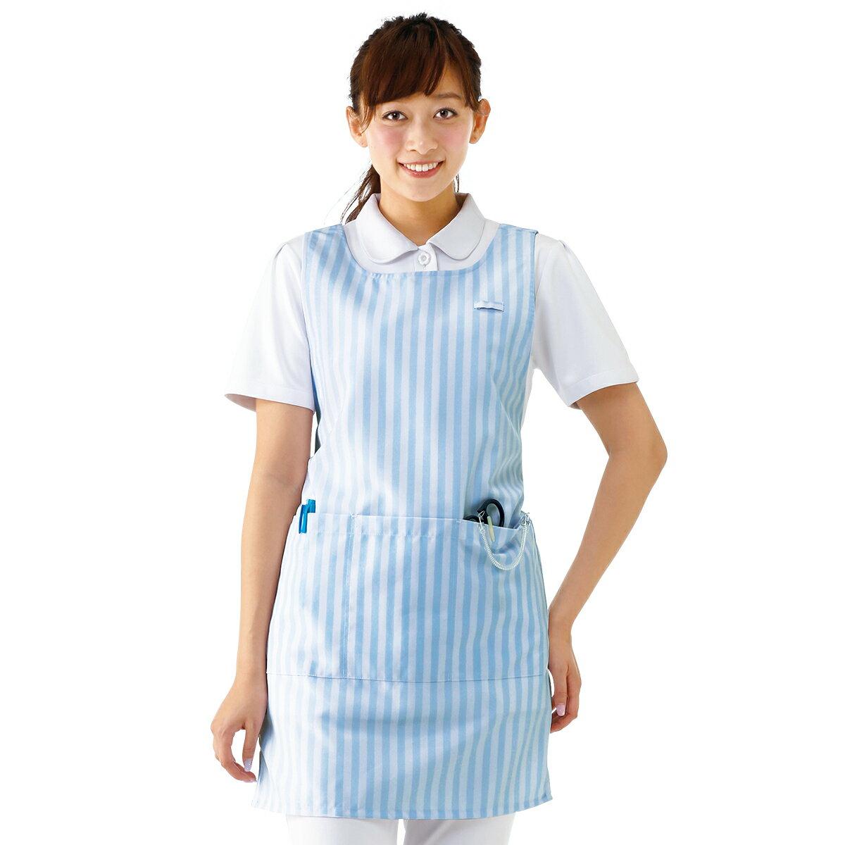 3170 撥水 ストライプエプロン(LL-3L、4L-5L)【医療 ナース 看護師 白衣 女性】