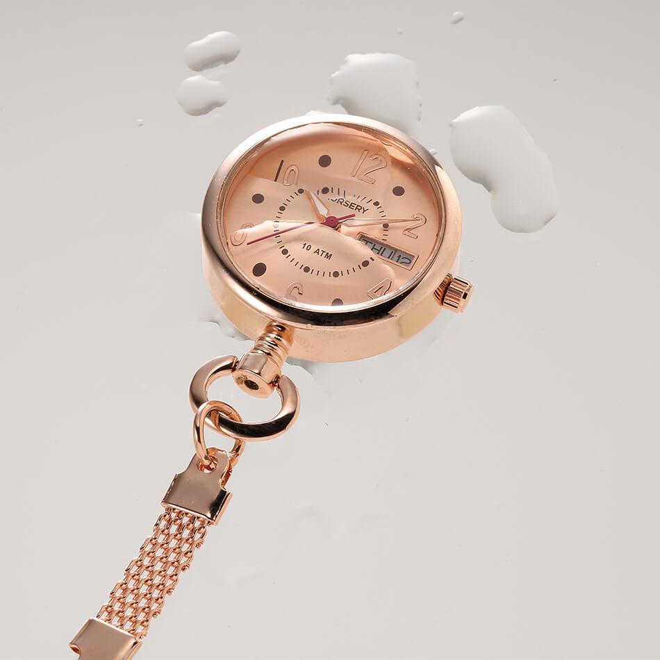 14271 日付・曜日表示付きピンクゴールドウォッチ<防水>【ナース 小物 グッズ 看護 医療 時計】