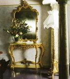 ロココ調イタリア家具コンソールテーブル 大理石コンソール&ミラーセット ゴールド