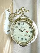 高級壁掛け両面時計アントワネットホワイト2