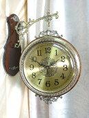 高級壁掛け両面時計エレガントゴールド