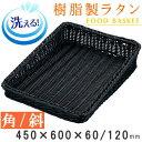 【 バスケット かご 】 樹脂製ラタン 樹脂製フードバスケット ブラック 斜め角/450×600mm