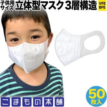 5/25発送 在庫あり 即納 国内発送 立体型マスク 耳が痛くない 三層フィルター VFE BFE 子供用 小さめ 不織布 使い捨て 50枚入り 子供サイズ50枚入り