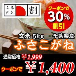 【クーポン利用で表示価格から30%OFF!【27年産】新米入荷!千葉県産 ふさこがね 玄米5k…
