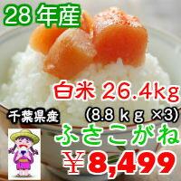 千葉県産 ふさこがね【28年産】つきたて 26.4kg(8.8kg×3)小分け無料♪送料無料♪※送料無料地域に除外があります※北海道・九州:+600円