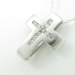 14KWG/K10WGクロスダイヤモンドネックレス【】