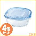 IwakiNEWパックレンジ450ml(4個セット) アクアブルー KBT3240BLN食品保存容器 収納 透明 電子レンジ AGCテクノガラス 【D】