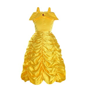 8a1a966450da0 美女と野獣 ベル 衣装 ゴールド プリンセス ドレス 豪華 コスプレ コスチューム 仮装 子ども お姫様 ワンピース ハロウィン