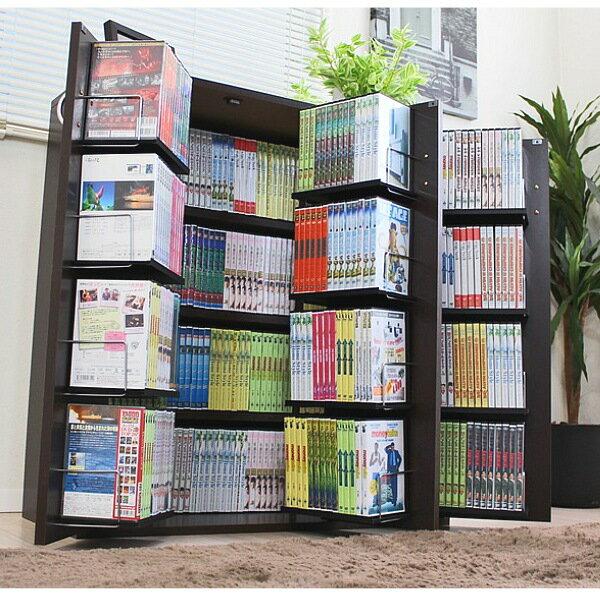 【ランキング1位受賞】 DVDで最大400収納 書棚ストッカー最大収納DVDで400枚 CD340枚 コミック400冊収納可能♪日本製です JS70-DBR JS70-WH 本棚 ラック ディスプレイラック 棚 CDラック DVDラック 収納 スリム 薄型 コミック 単行本 書棚 日本