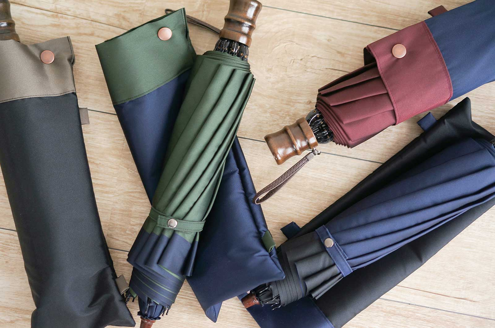 甲州織 橘 紳士用折り畳み傘