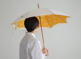傘日傘晴雨兼用レディース小宮商店ブランド「かわず張りドット」両面コットンリネンシンプルナチュラル50cm8本骨おしゃれかわいい修理ギフトネイビーイエローホワイトグレーデザイン