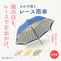 傘レディースかわず張りレース雨傘60cm8本骨日本製国産高級高品質丈夫頑丈大きい大きめ大判濡れない修理傘専門店職人手作り手づくり伝統土産おしゃれ女性婦人小宮商店
