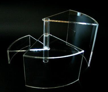 回転式3段ディスプレイ用陳列台扇型