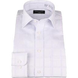 【長袖】 ジョンピアース ワイシャツ 形態安定 ブルー系 チェック ワイドカラー コナカ