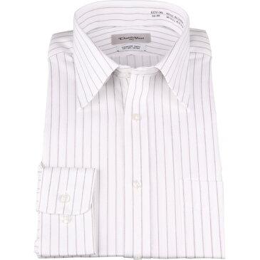 【オールシーズン】ドナートヴィンチ ワイシャツ 長袖 形態安定 ホワイト系 ストライプ レギュラーカラー コナカ 大きいサイズ