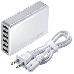 出力自動判別機能「Smart USB System」搭載 6ポートUSB充電器(ホワイト) サ…