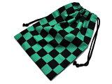 鬼切巾着(きんちゃく)市松模様緑×黒◆巾着袋裏地付きコスプレ和風小物