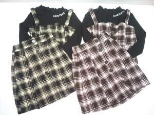 「セール」ラブトキシック Lovetoxic ニコラコラボ限定 チェックビスチェ×スカート×長袖Tシャツ3点セット セットアップ ニコラ 140 150 160cm