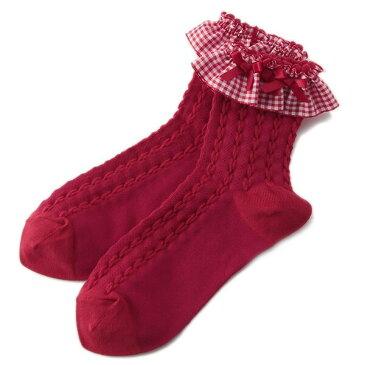 メゾピアノ mezzopiano ギンガムフリルクルーソックス 靴下 赤 チェック柄 リボン 16 17 18 19 20 21 22cm