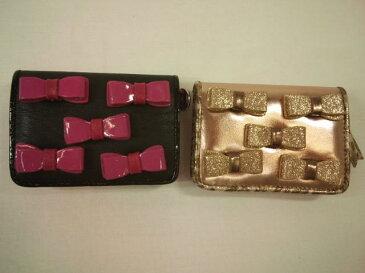 【セール】メゾピアノJr.★リボンいっぱい合皮二つ折りパスケース&小銭入れ