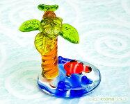 手作りガラス細工【ガラス細工パームランドクマノミC024-4】ガラス細工ミニチュアヤシの木クマノミ熱帯魚海南国雑貨夏の置き物趣味