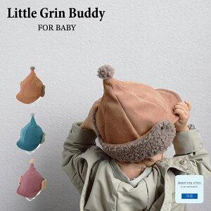 【1,500円以上メール便送料無料】 Baby Tongari Ear Pon Cap [ Little Grin Buddy ] 耳当て付きのとんがり帽子 [ ベビー 赤ちゃん 48cm 50cm 1歳 2歳 キャップ 秋 冬 耳あて 防寒 ]