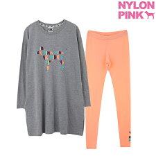 可愛いTシャツとレギンスのセットnylonpink
