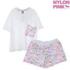可愛いTシャツとショートパンツのセットnylonpink