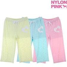 韓国ファッションナイロンピンクスウェットパンツレディース