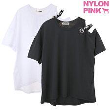 韓国ブランドナイロンピンクTシャツ半袖レディース