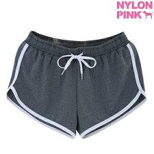 韓国ファッションナイロンピンクスウェットショートパンツルームウェアショートパンツレディース